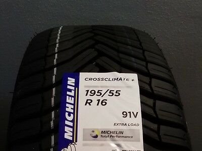 n.4 gomme Michelin crossclimate 195 55 16 91v (4 stagioni)dot2016