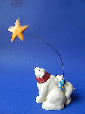 Polar Bears Gazing On North Star Christmas Figurine Collectible