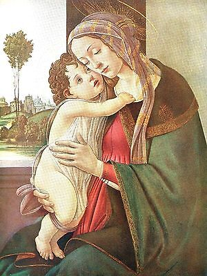 The Madonna & Child - Antique Fine Art - After Sandro Botticelli - Mounted 10x12