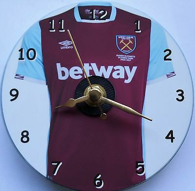 Football cd clock with West Ham shirt on clock face with stand