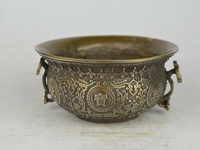 Collectible Old Exquisite China copper carving Flower treasure bowl pot 聚宝盆