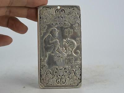 Collectible Decorated Old Tibet Silver Handwork Carved 12 Zodiac&monkey Pendant