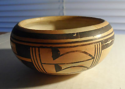 Beautiful Very Old Pueblo Pottery Bowl  Hopi