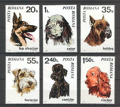 Romania 1971 Dogs 6 MNH stamps