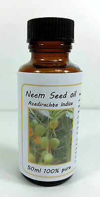 Neem Seed oil 50ml - Therapeutic  Psoriasis, eczema, head lice, ringworm, acne