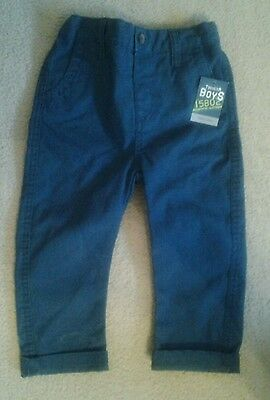 Bnwt Matalan 100 % Cotton Green Boys Toddler Trousers Age 12-18 Months