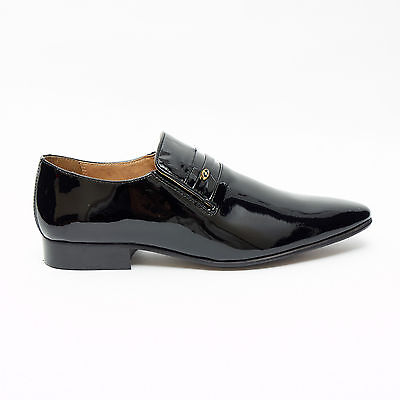 Mens Black Patent Lucini Leather Smart Loafer Slip On Shoes,Low Heel 6-11 33453
