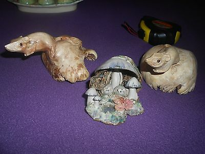 2 carved wood mice figures and pottery with mice
