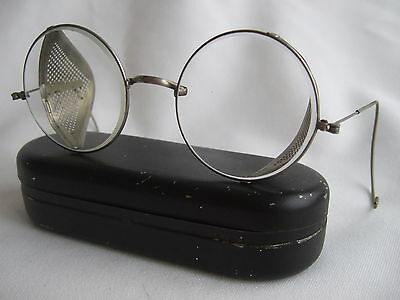 Vintage steampunk safety goggles glasses mesh side in original metal case