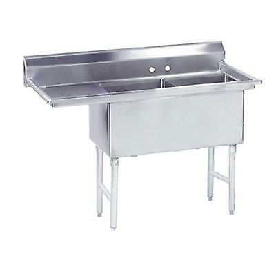 """Advance Tabco 2 Compartment Sink 24""""x24""""x14"""" S/s Bowls 24"""" Left Drainboard"""