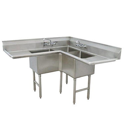 "Advance Tabco 3 Compartment Corner Sink 18""x18""x14"" Bowl Two Drainboards"