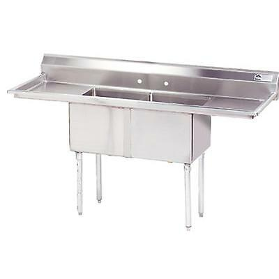 """Advance Tabco 2 Compartment Sink 24""""x24""""x14"""" Bowls S/s Two 18"""" Drainboards"""