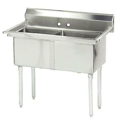 """Advance Tabco 2 Compartment Sink 18"""" x 24"""" x 14"""" Size Bowl No Drainboard"""