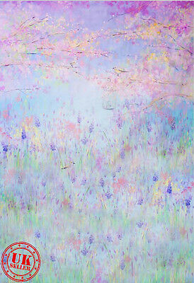 Blue Pink Flower Field Baby Backdrop Background Vinyl Photo Prop 5X7Ft 150X220Cm
