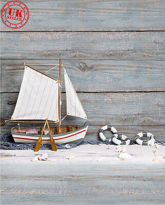 Sea Sailor Boat Wood Baby Backdrop Background Vinyl Photo Prop 5X7Ft 150X220Cm