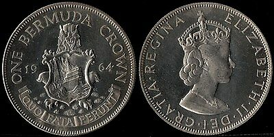 narkypoon 's SUPERB UNCIRCULATED 1964 500 fine SILVER CAMEO PROOF Bermuda Crown