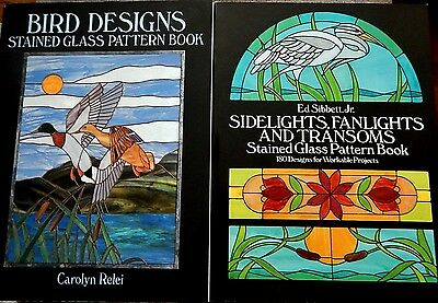 Lot of 2 Stained Glass Pattern Books Birds & Sidelights Fanlights & Transoms NEW