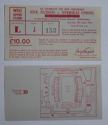 RUGBY FIVE NATIONS v OVERSEAS UNIONS Tickets19/04/1986