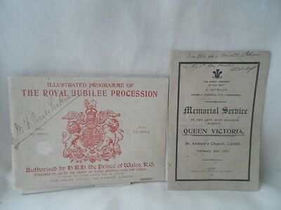 ** 1897 Prog Of The Royal Jubilee Procession Queen Victoria + 1901 Memorial **