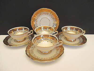 4 BC Ivory and Gold Demitasse Cups and Saucers, Bavaria