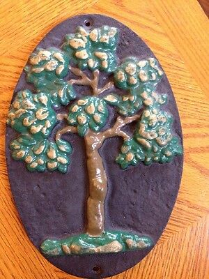 Cast Iron GREEN TREE Fire Mark House Sign Plaque Mutual Insurance Marker
