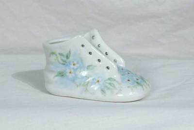 Hand Painted Art on Porcelain Unsigned Blue Flowers Baby Shoe Bootie bfe1570