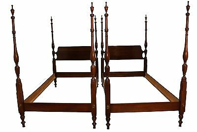 Pair of Traditional Mahogany 4-Poster Twin Size Bedframes