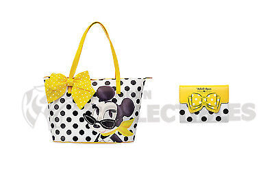 Disney MINNIE MOUSE SIGNATURE TOTE & JOURNAL Yellow Polka Dots Store Set 2017