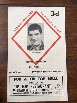 Airdrieonians v Dundee programme 1968/69