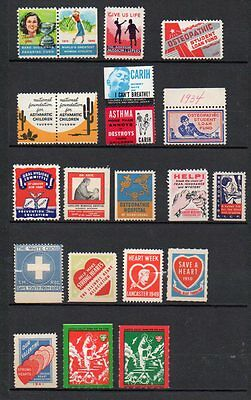 18 various vintage USA charity labels, asthma, leprosy, heart disease etc.