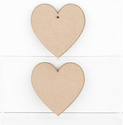 Wooden MDF Heart Shapes 3mm Thick Tags Plaques Embellishments Decoration Craft