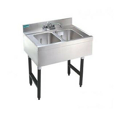 "Advance Tabco 36"" 2-Compartment Underbar Sink Unit 9"" Drainboard Left - Slb-32R"