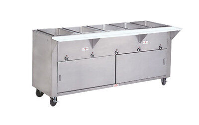 """Advance Tabco 77.75"""" Electric 5 Well Hot Food Table w/ SS Cabinet Base"""