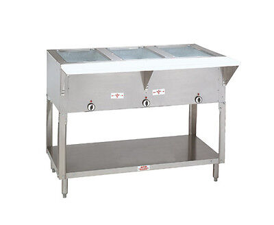 "Advance Tabco 47"" Electric 3 Sealed Hot Food Wells Table w/ Drains 120v"