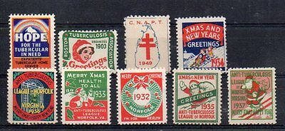 9 vintage USA anti-TB charity labels and Christmas stamps 1930's - 19'40's.