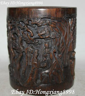 """6""""Old China Wood Belle Beauty Beauties Pretty Girl  Brush Pot pencil Holder vase"""