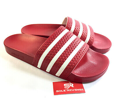 18a71647af4 New Adidas ADILETTE Slides Sandals Mens Red White Beach Flip Flops 288193