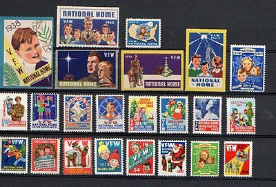 23 vintage USA VFW National Home, Michigan charity labels 1940's to 1950's.