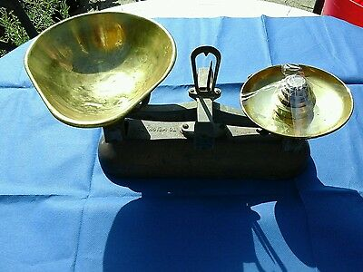 Vintage brass kitchen scales with imperial  weights