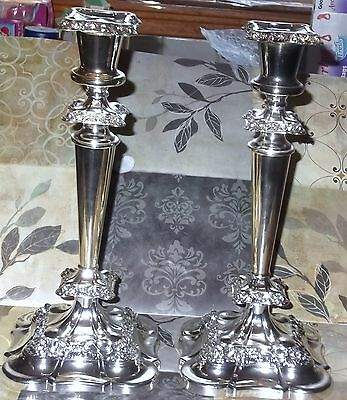 """Pair of  Ornate Silverplate Candle Stick Holders 11"""""""