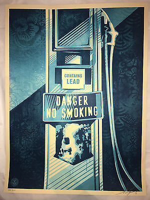 Shepard Fairey Screen Print Danger No Smoking Obey Giant Signed & Numbered Blue