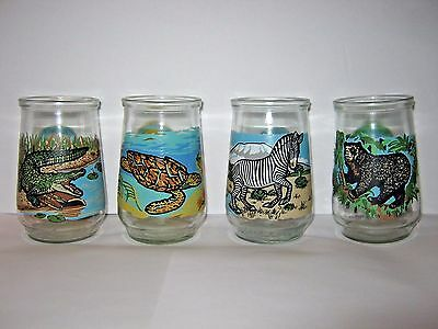Welch's Jelly Glasses Endangered Species Collection SET of 4 All EXCELLENT COND