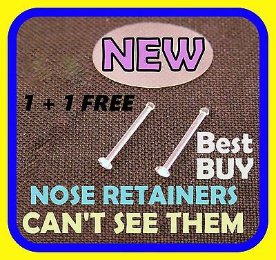 SPECIAL 1+1 FREE Clear Nose Bone Stud Ring Retainers Thin 22g (0.6mm)