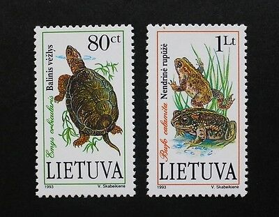 Pond life stamps, European pond turtle, running toad, 1993, SG ref: 550 & 551