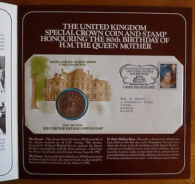 UK Crown Coin & 1st Day Cover Honouring 80th Birthday of H.M. The Queen Mother