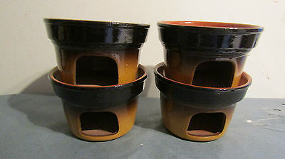 Piral Albisola Italy 4 Terracotta Tea Light Food Warmers ~ Bowl Dish *un-used*