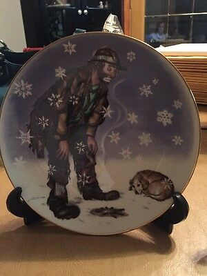 """Emmett Kelly Jr Plate """"Winter"""" By Flambro With Stand"""