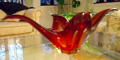 Magnificent Vintage Murano Free-flowing Ruby Red  Art Glass Dish/ Centre Piece