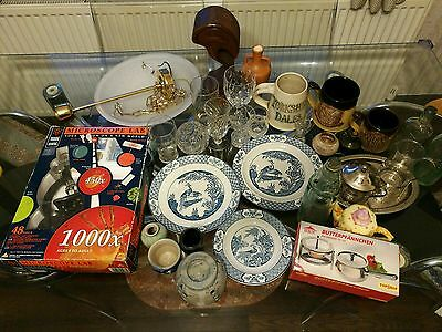 Job Lot Car Boot sale microscope plates teapot Crystal Glass from Wakefield