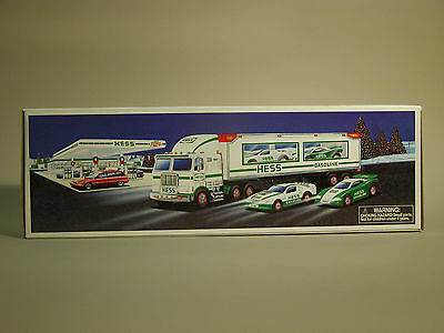 1997 Hess Toy Truck and Racers 2  Friction Racing Cars Vintage NIB